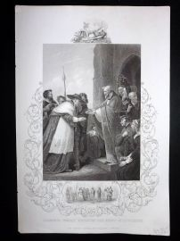 Gaspey C1860 Antique Print. Cardinal Wolsey Entering The Abbey of Leicester